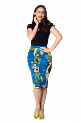 Banned rok tiki pencil skirt blauw