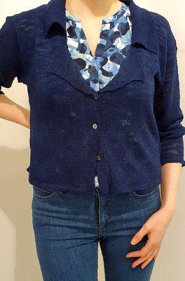 Bindi vest collar slub blauw