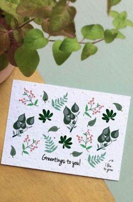 Bloom your message kaart greentings leaves