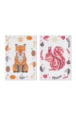 Cubic Wildwood TeaTowels FoxSquirrel