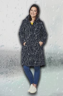 Happy Rainy Days jas berbel coat zwart wit