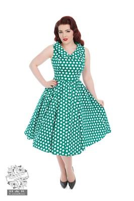 Hearts & Roses jurk polkadot groen