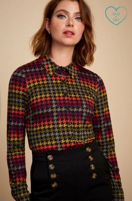 King Louie bloes blouse houndstooth multicolor