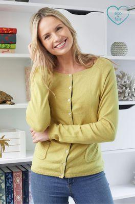 Lily & Me vest pointelle knit cardi groen
