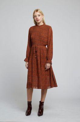 Louche jurk OUIFFA STARLEAF bruin