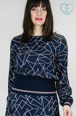 Mademoiselle yeye bloes spohisticated & cool top blauw