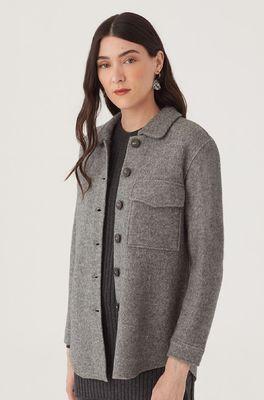 Nice Things bloes boiled wool overshirt grijs