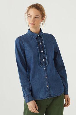 Nice Things bloes denim frill shirt blauw