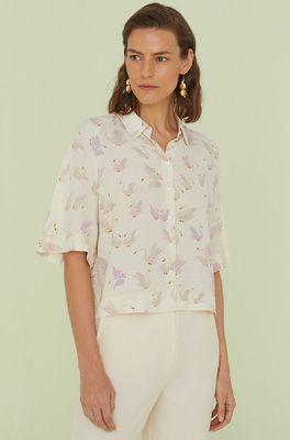 Nice Things bloes swan print ecru