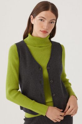 Nice Things gilet v neck vest with buttons antraciet