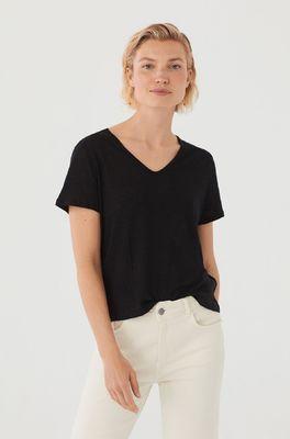 Nice Things t shirt v-neck zwart