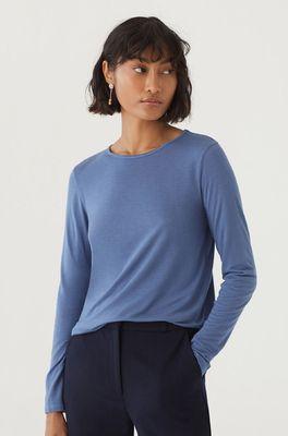 Nice Things t shirt wool round neck basic blauw