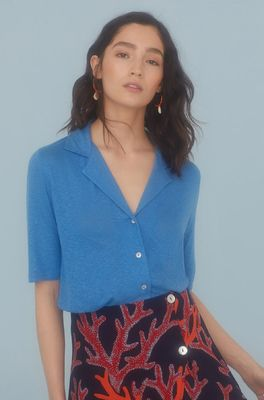 Nice Things top polo neck blauw