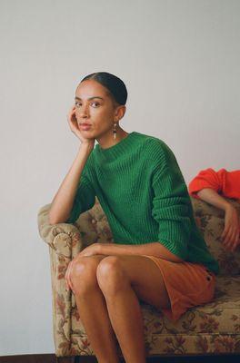Nice Things trui ribbed sweater groen