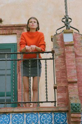 Nice Things trui ribbed sweater oranje