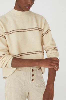 Nice Things trui striped sweater creme