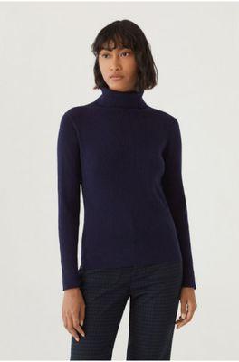 Nice Things trui turtle neck rib sweater blauw