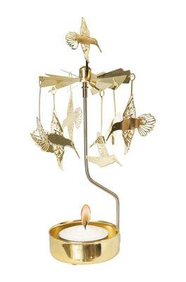 Pluto draaiend waxinelichtje hummingbird goud