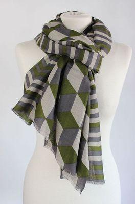 Sjaelz shawl Block olijf