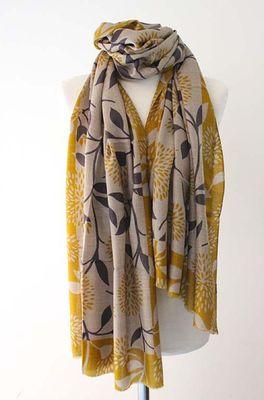 Sjaelz shawl Blossom oker