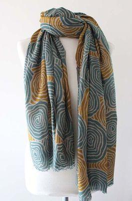 Sjaelz shawl Meander  petrol