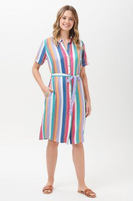 Sugarhill jurk sine cruise stripe shirt dress multi