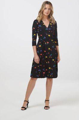 Sugarhill jurk terly floral midi jersey zwart