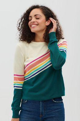 Sugarhill trui ita fractured spectrum sweater petrol