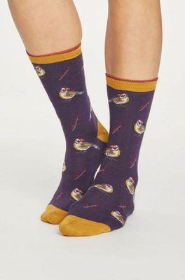 Thought sokken british bird paars