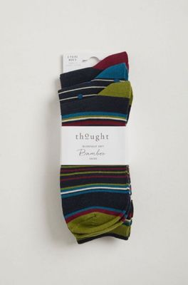 Thought sokken classic stripe sock pack multicolor
