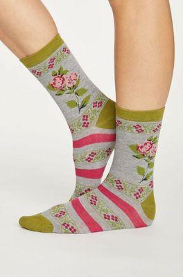Thought sokken folk floral grijs