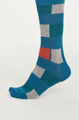 Thought sokken geo stripe blauw