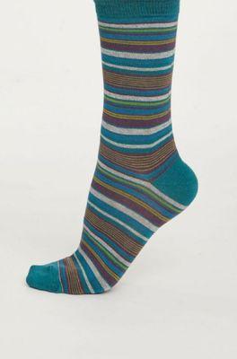 Thought sokken kenneth stripe petrol
