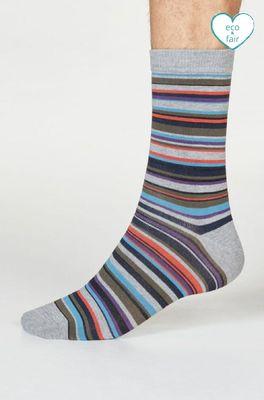 Thought sokken multi stripe grijs