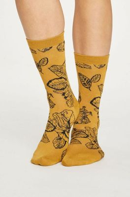 Thought sokken sketchy floral geel