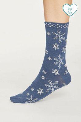 Thought sokken snowflake  blauw