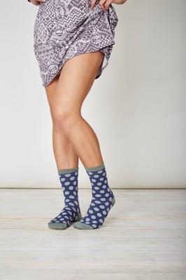 Thought blauwe stippen sokken