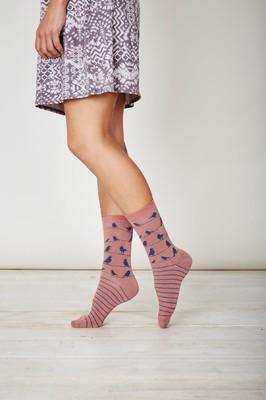 Thought teracotta sokken met vogeltjes