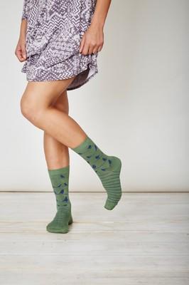 Thought groene sokken met vogeltjes