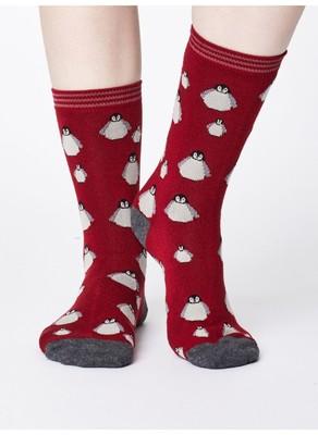 Thought sokken pinguin rood