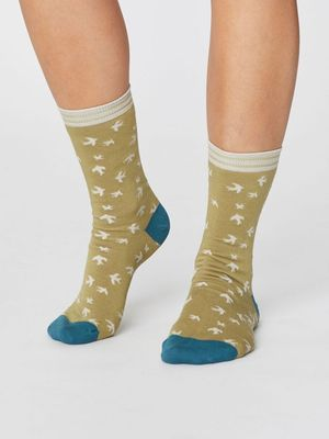 Thought sokken swallow bird socks groen