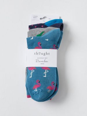 Thought sokken tropical bird sock pack multi