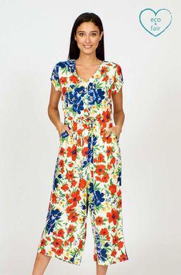 Vacant jumpsuit flower show multicolor