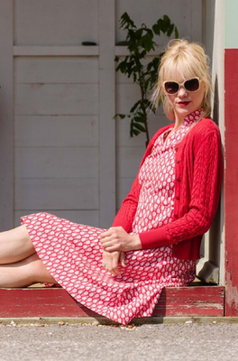 Vacant jurk drawstring rood