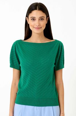 Vacant trui boat neck jacquard groen