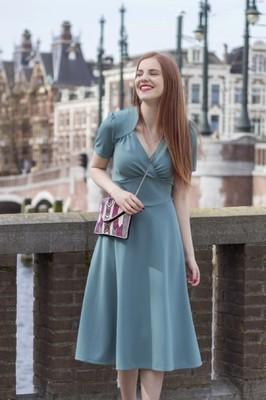 Very Cherry jurk hollywood blauw