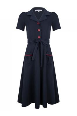 Very Cherry jurk revers blauw