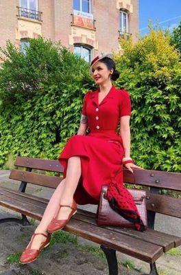 Very Cherry jurk revers dress midi rood