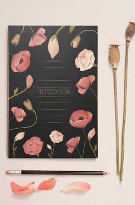 Vissevasse notitieboek black with flowers