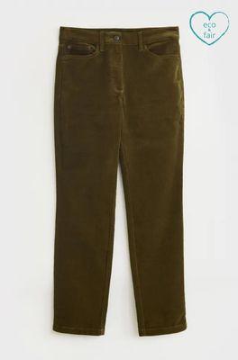 White Stuff broek brook straight cord trouser groen